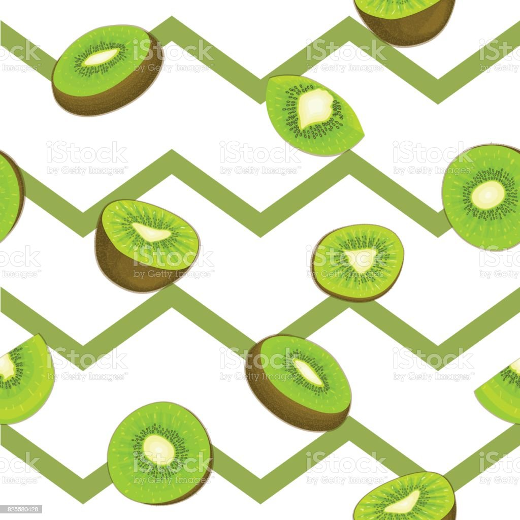 Seamless vector pattern of ripe kiwifruit. Striped zig zag background with delicious juicy green kiwi slice half leaves.  fresh fruit Illustration for printing on fabric textile design packaging vector art illustration