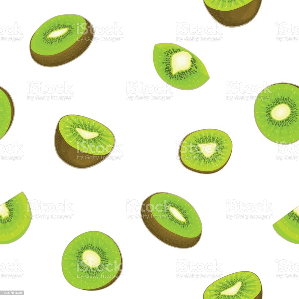 Seamless vector pattern of ripe kiwifruit. White background with delicious juicy green kiwi slice, half.  fresh fruit Illustration for printing on fabric textile design packaging juice breakfast vector art illustration
