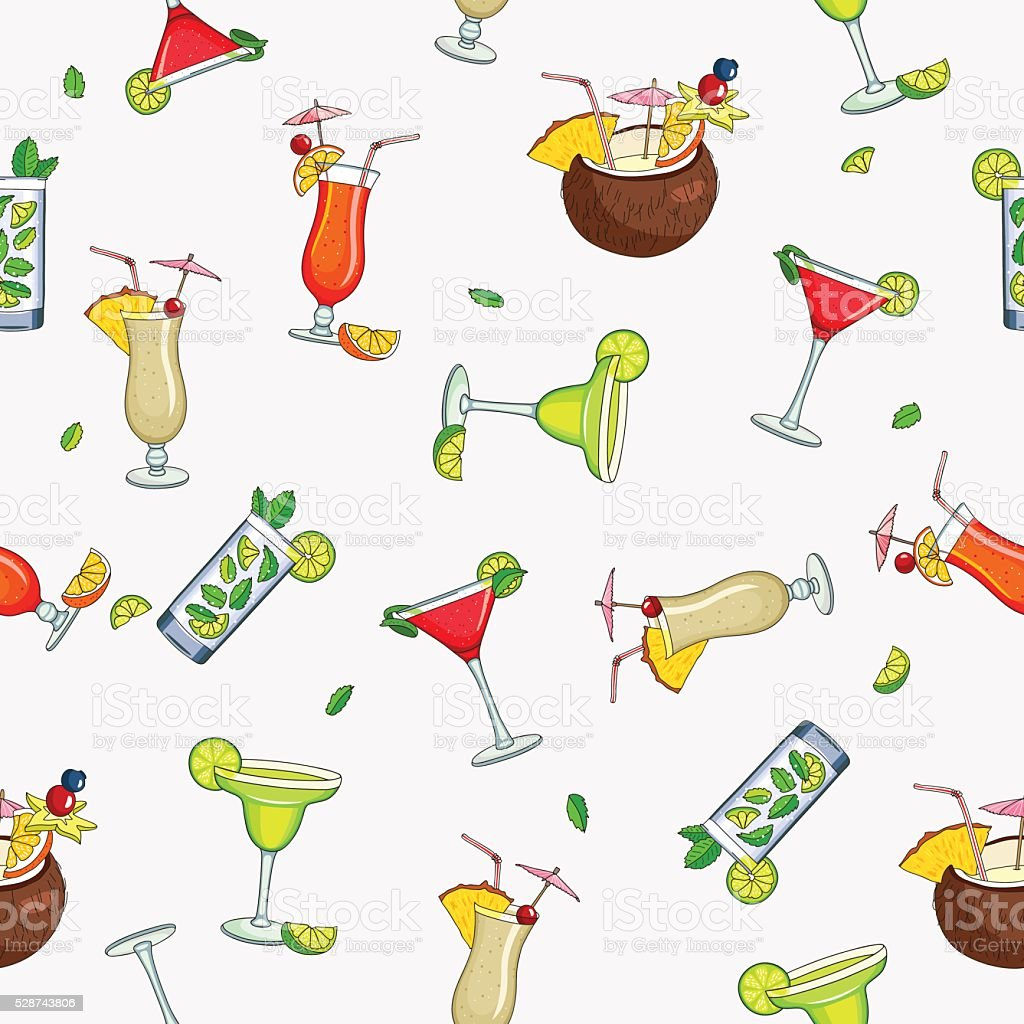 Seamless vector pattern of the different cocktails vector art illustration