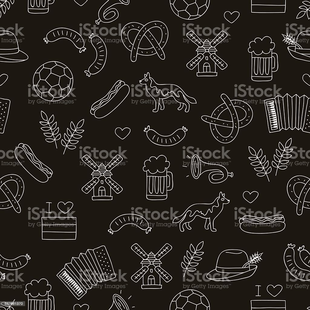 Seamless vector pattern of the Germanic icons vector art illustration