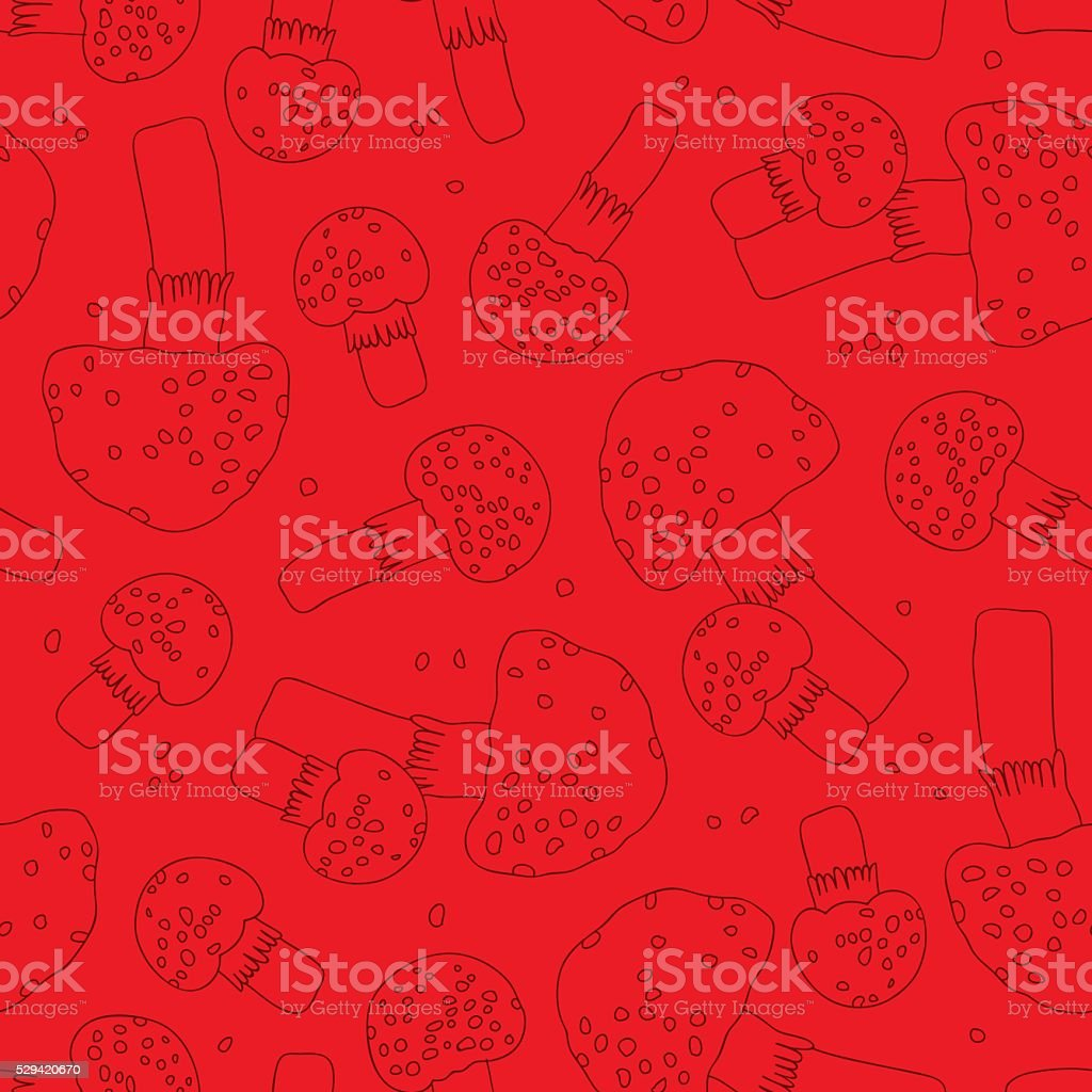 Seamless vector pattern of toadstools on a red background. Wrapp vector art illustration