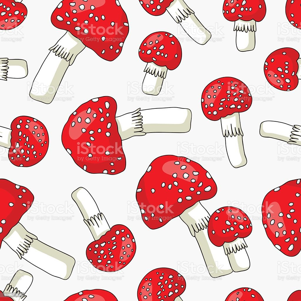 Seamless vector pattern of toadstools vector art illustration
