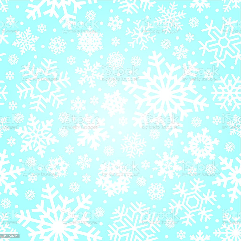 Seamless vector pattern of white snowflakes on pale blue royalty-free stock vector art