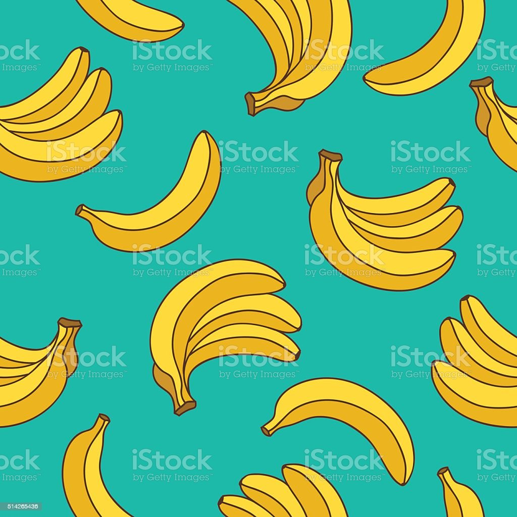 Seamless vector pattern of yellow bananas vector art illustration