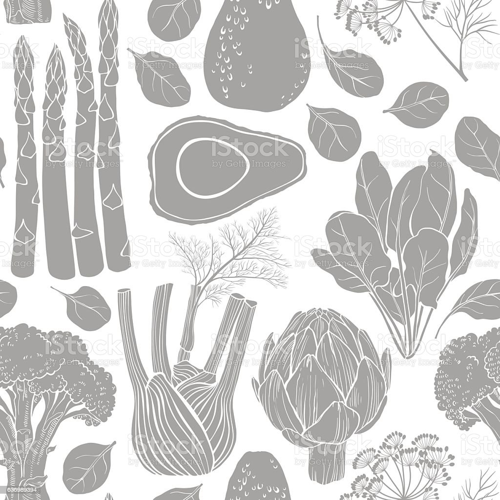 Seamless vector pattern  silhouettes of vegetables. Monochrome  vector illustration. vector art illustration