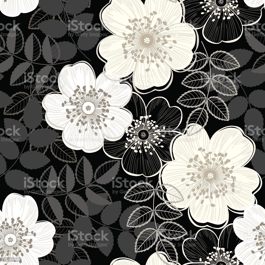 Seamless vector pattern with a dogrose on black background. vector art illustration