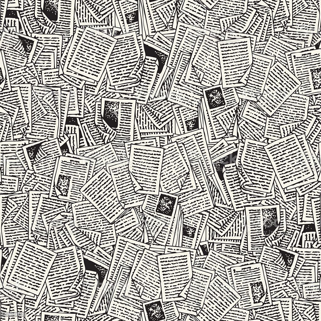 Seamless Vector Pattern with Book Pages vector art illustration