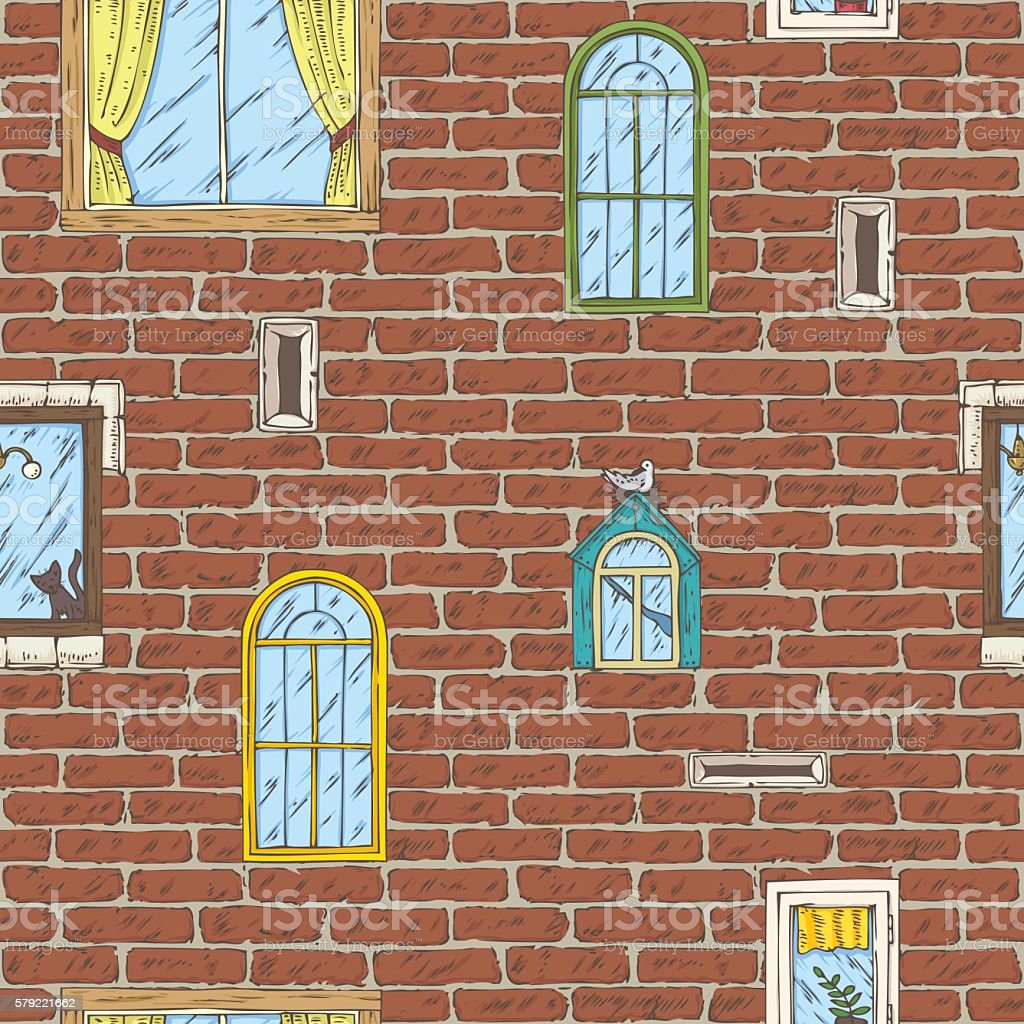 Seamless Vector Pattern with Brick Wall and Color Windows vector art illustration