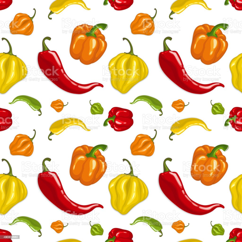 Seamless vector pattern with chili peppers vector art illustration