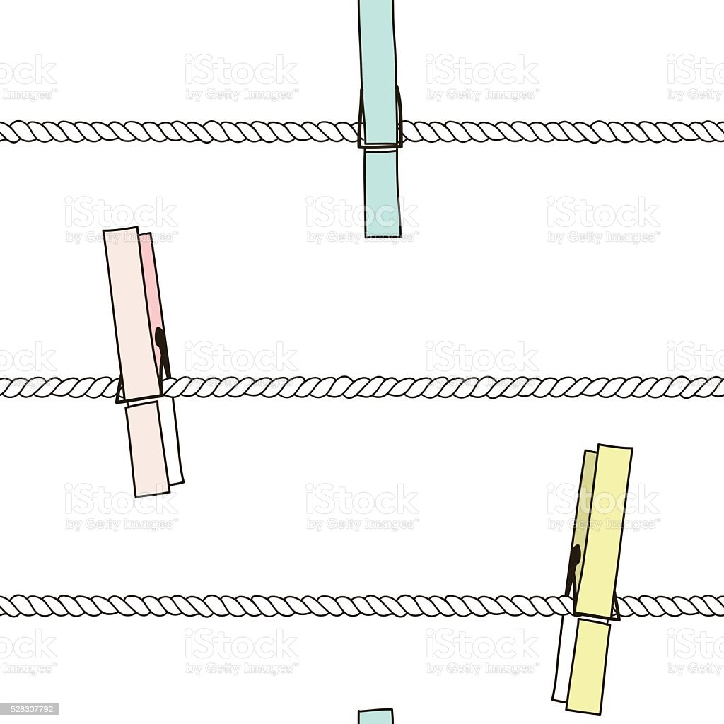 Seamless vector pattern with colorful clothespins on rope. vector art illustration