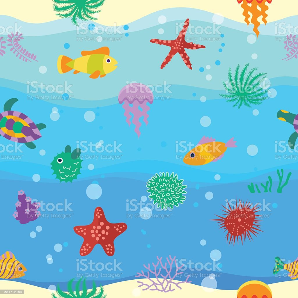 Seamless vector  pattern with cute cartoon fish  in waves vector art illustration