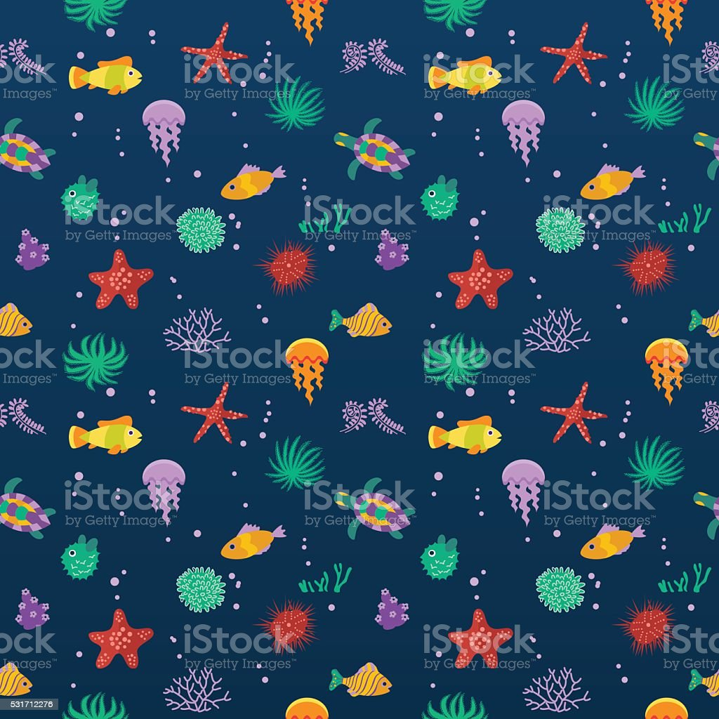 Seamless vector  pattern with cute cartoon fish vector art illustration
