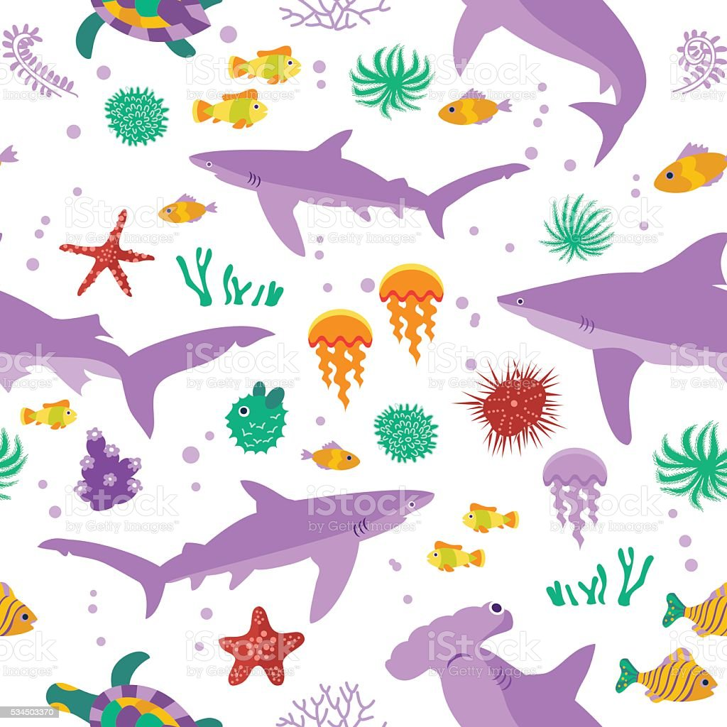 Seamless vector  pattern with cute cartoon sharks and fishes vector art illustration