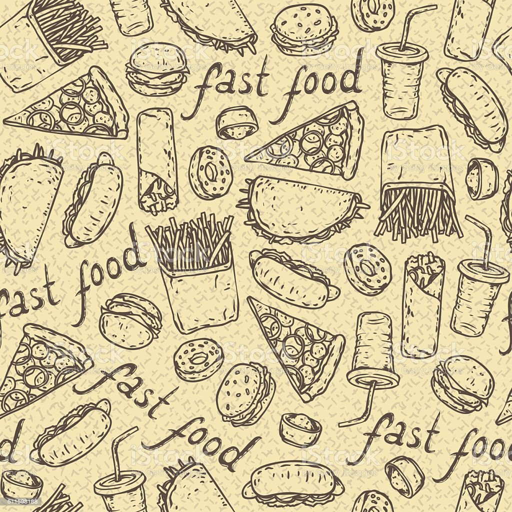 Seamless Vector Pattern with Fast Food vector art illustration