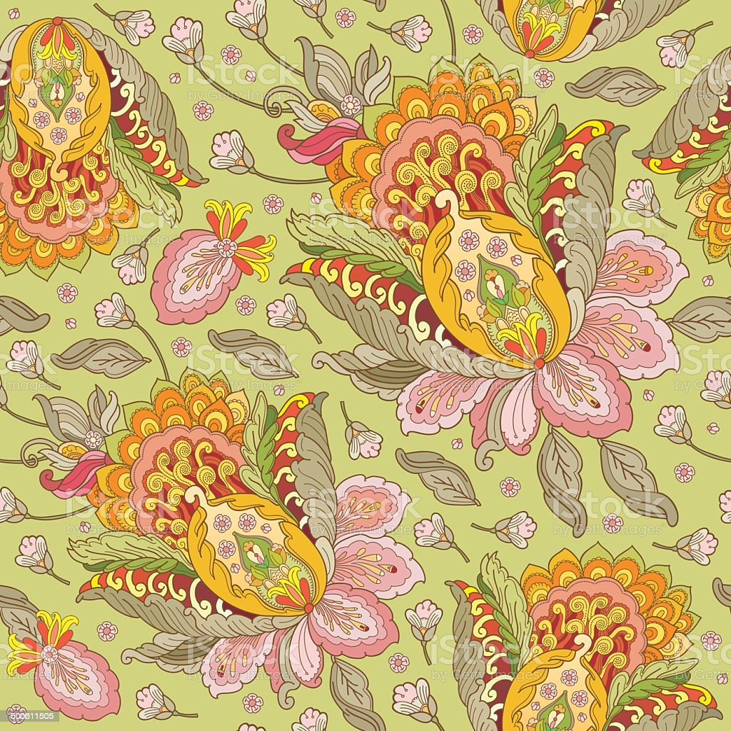 seamless vector pattern with flowers in oriental style vector art illustration