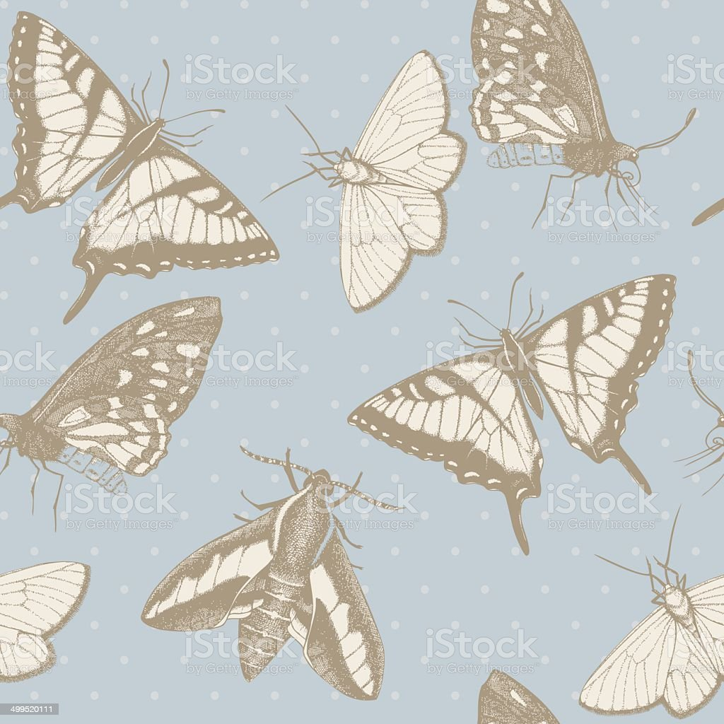Seamless vector pattern with ink hand drawn butterflies royalty-free stock vector art