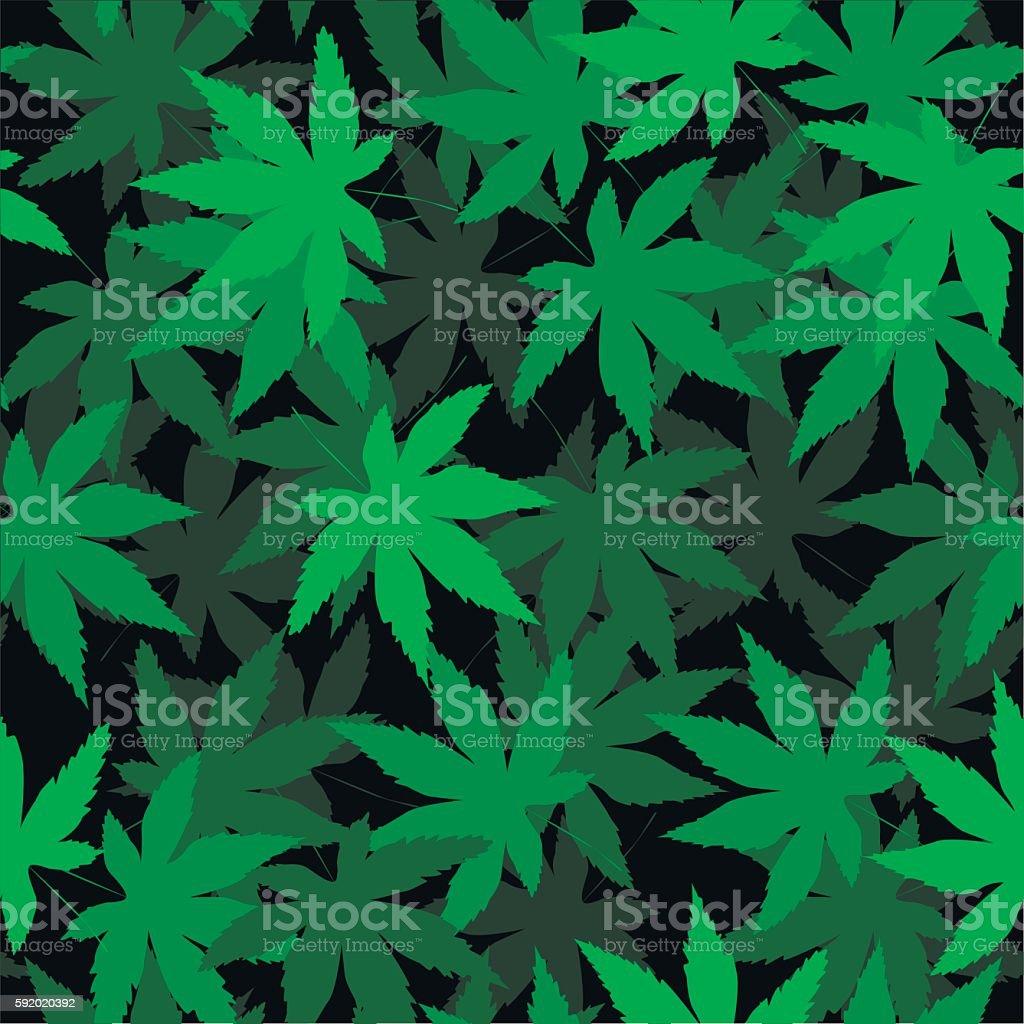 Seamless vector pattern with marijuana leaves, hemp, cannabis vector art illustration
