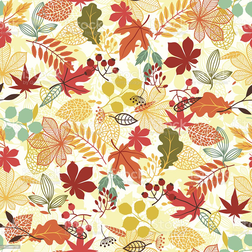 Seamless vector pattern with stylized autumn leaves. vector art illustration