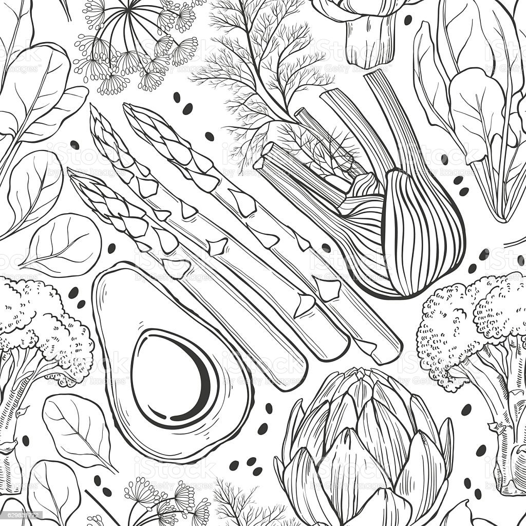 Seamless vector pattern  with  vegetables. Black and white vector illustration. vector art illustration
