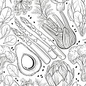 Seamless vector pattern  with  vegetables. Black and white vector illustration.