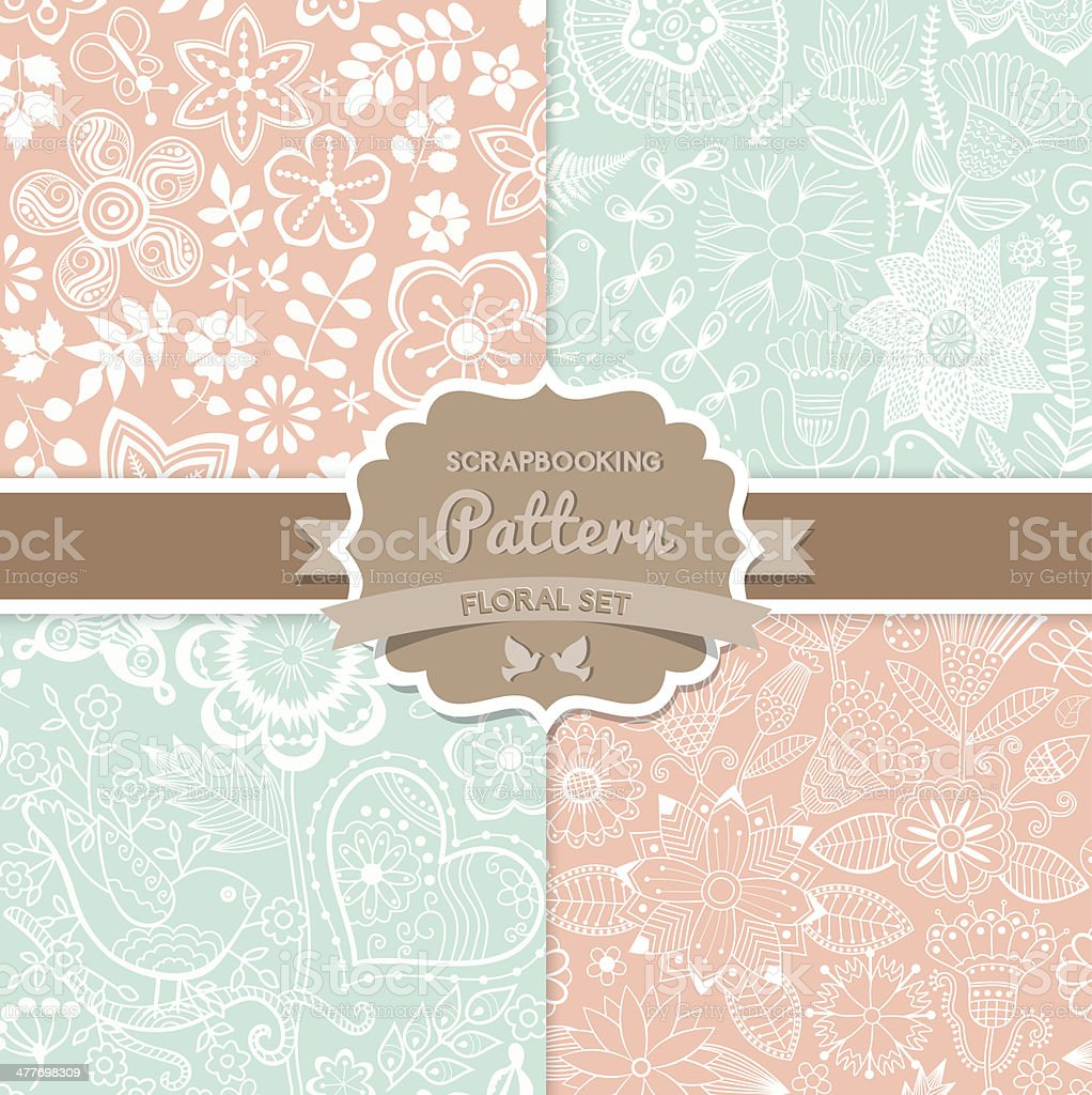 4 seamless vector patterns. Shabby chic. Floral patterns (seamle vector art illustration