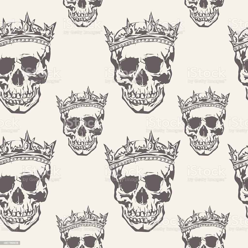 Seamless Vector Patterns With Grunge  Human Skulls vector art illustration