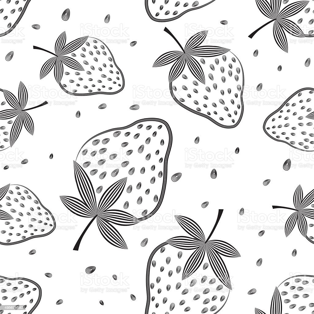 Seamless vector strawberry pattern. Berry isolated on white background. vector art illustration
