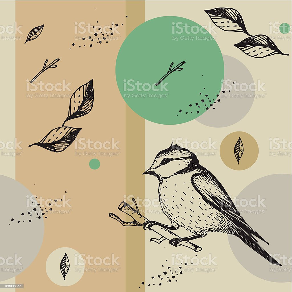 Seamless vector texture with birds vector art illustration
