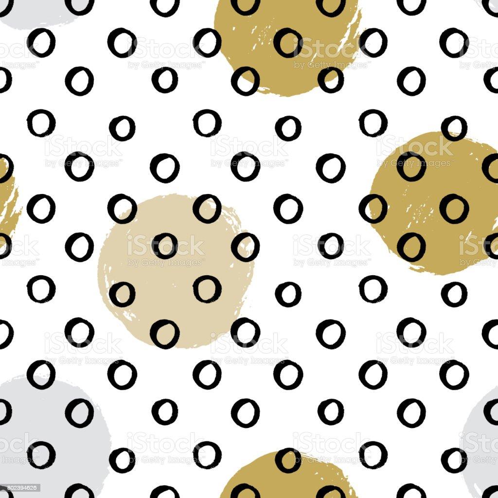 Seamless vector textured hand drawn polka dot pattern vector art illustration