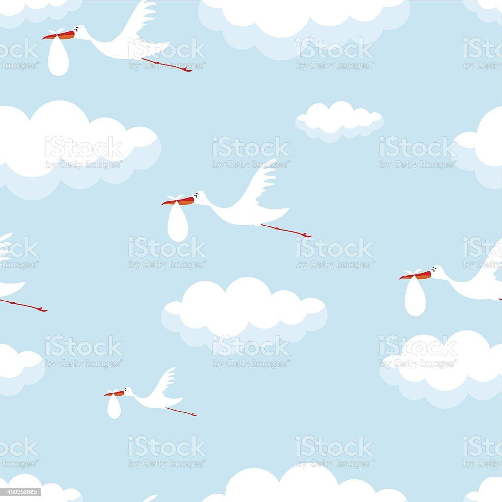 seamless vector wallpaper of cute stork with baby vector art illustration