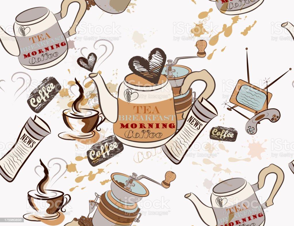 Seamless vector wallpaper on coffee theme royalty-free stock vector art
