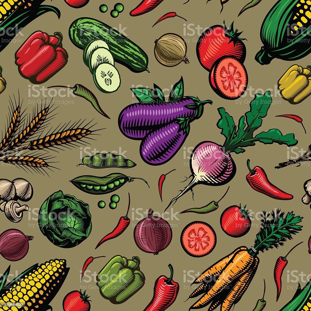 Seamless Vegetable Pattern vector art illustration