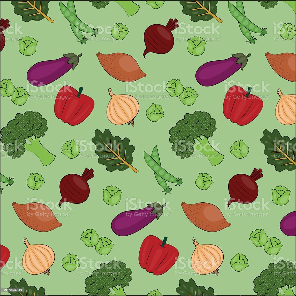 Seamless Vegetable Vector Pattern vector art illustration