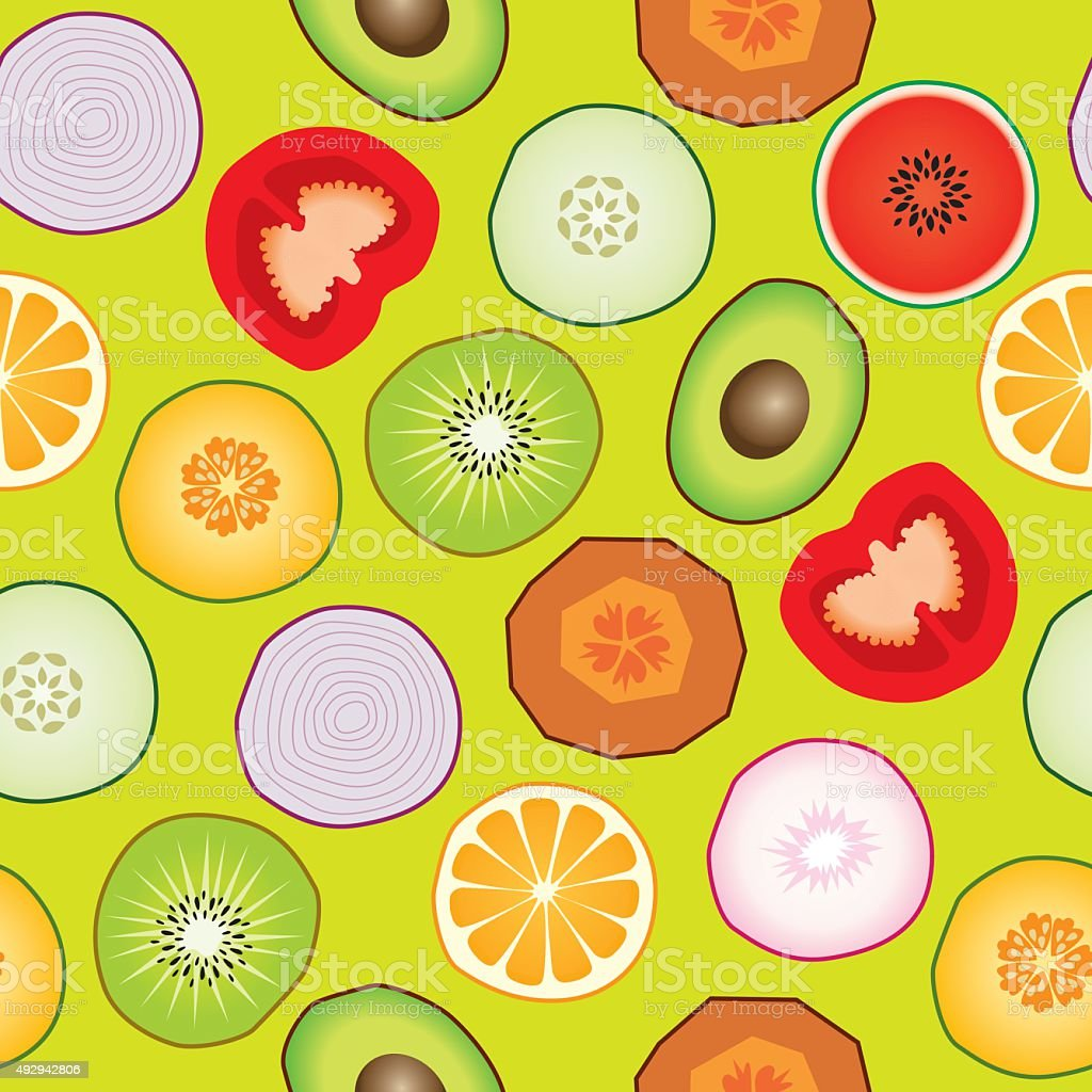 Seamless Vegetables And Fruits vector art illustration