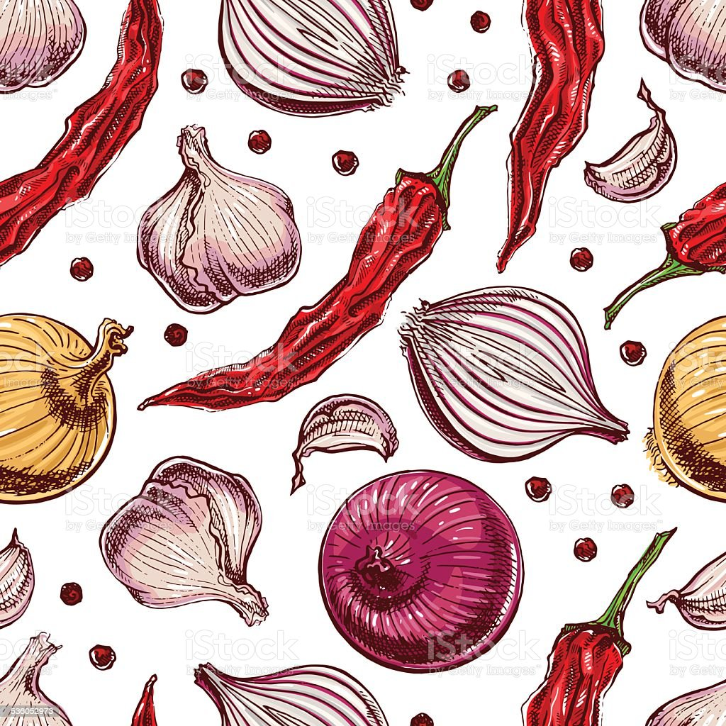 Seamless vegetables and spices vector art illustration