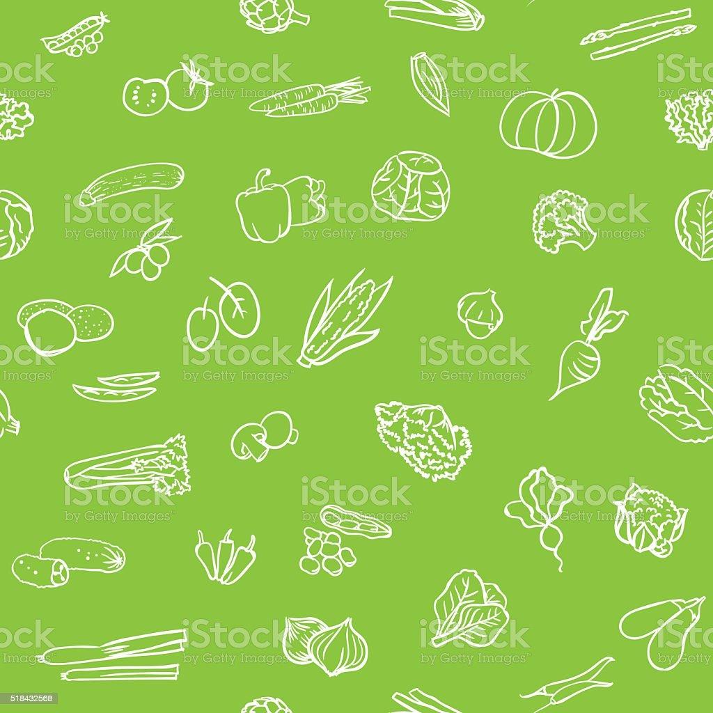 Seamless vegetables pattern vector art illustration