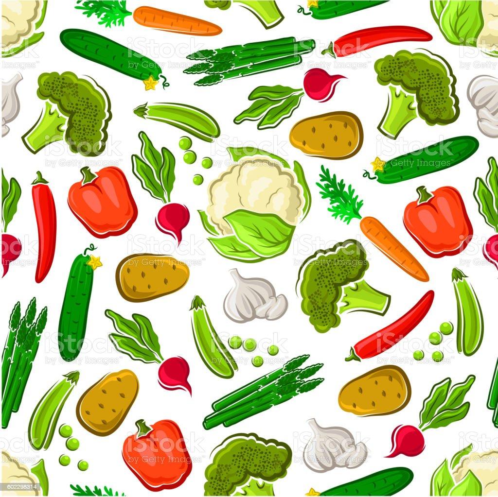 Seamless veggies pattern for farming design vector art illustration