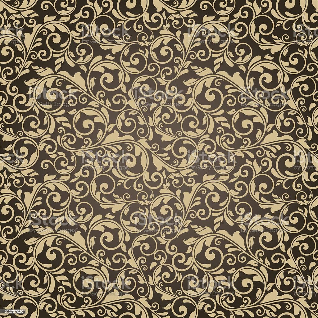 seamless victorian pattern on brown background vector art illustration