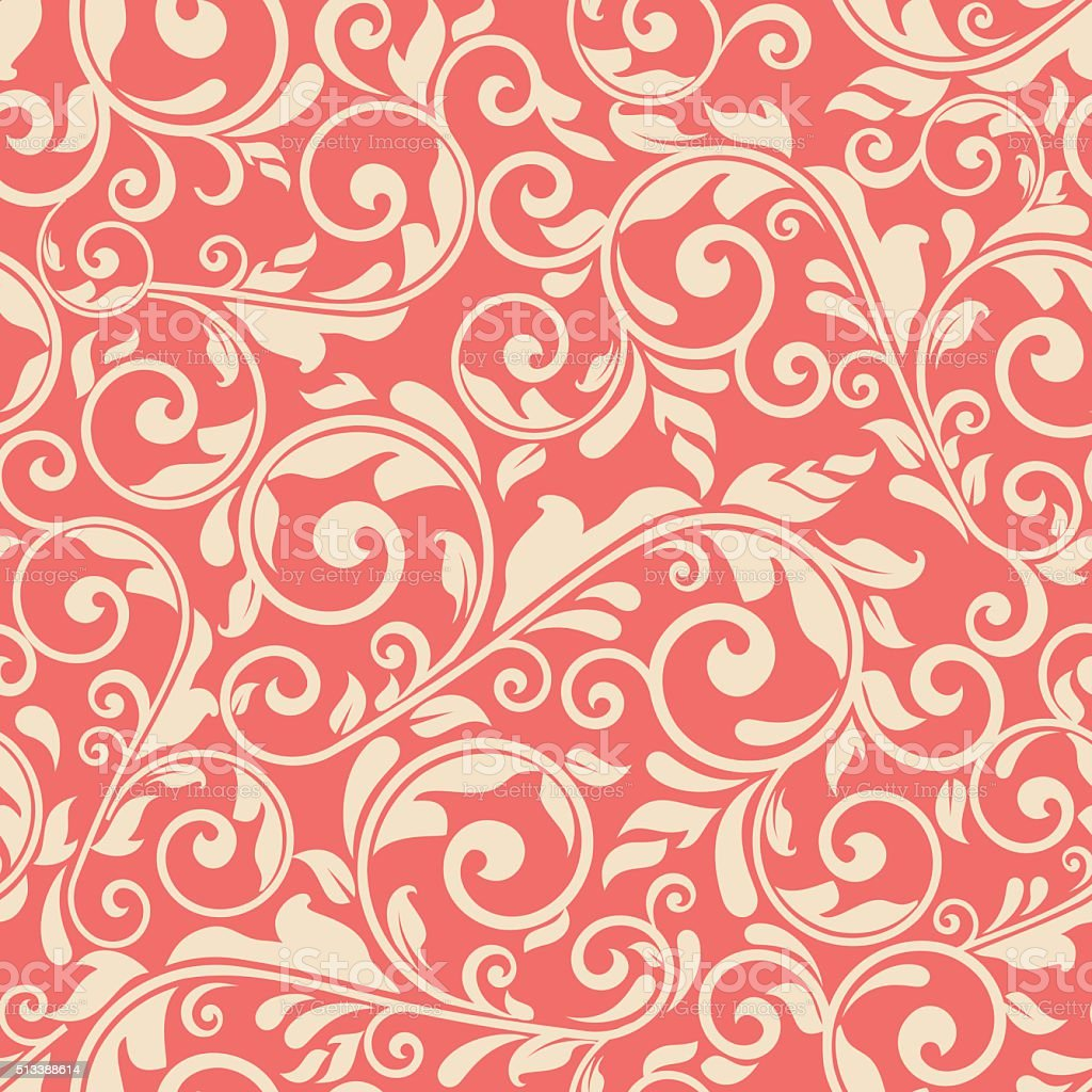 seamless victorian pattern on red background vector art illustration
