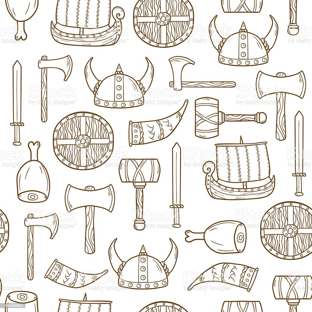 Seamless viking background vector art illustration