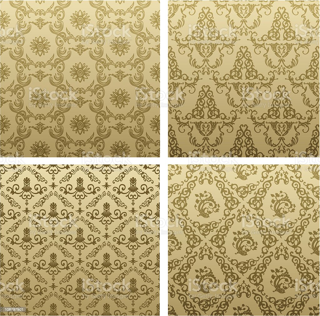 seamless vintage background brown baroque Pattern royalty-free stock vector art