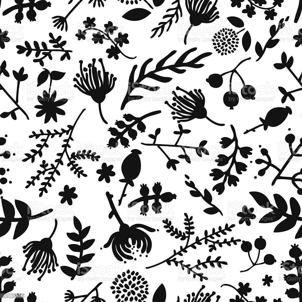 Seamless vintage black and white floral pattern vector art illustration