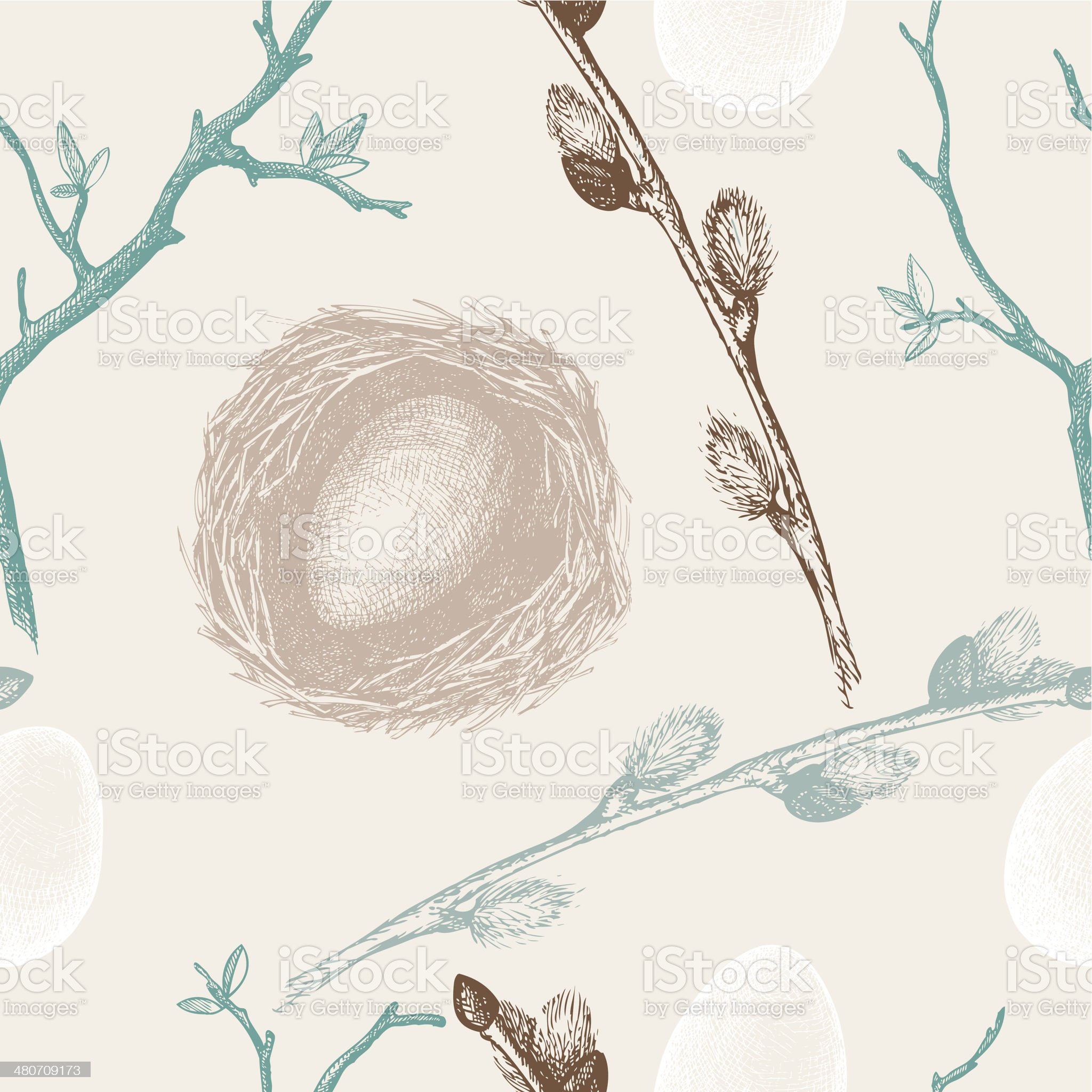 Seamless vintage Easter pattern royalty-free stock vector art