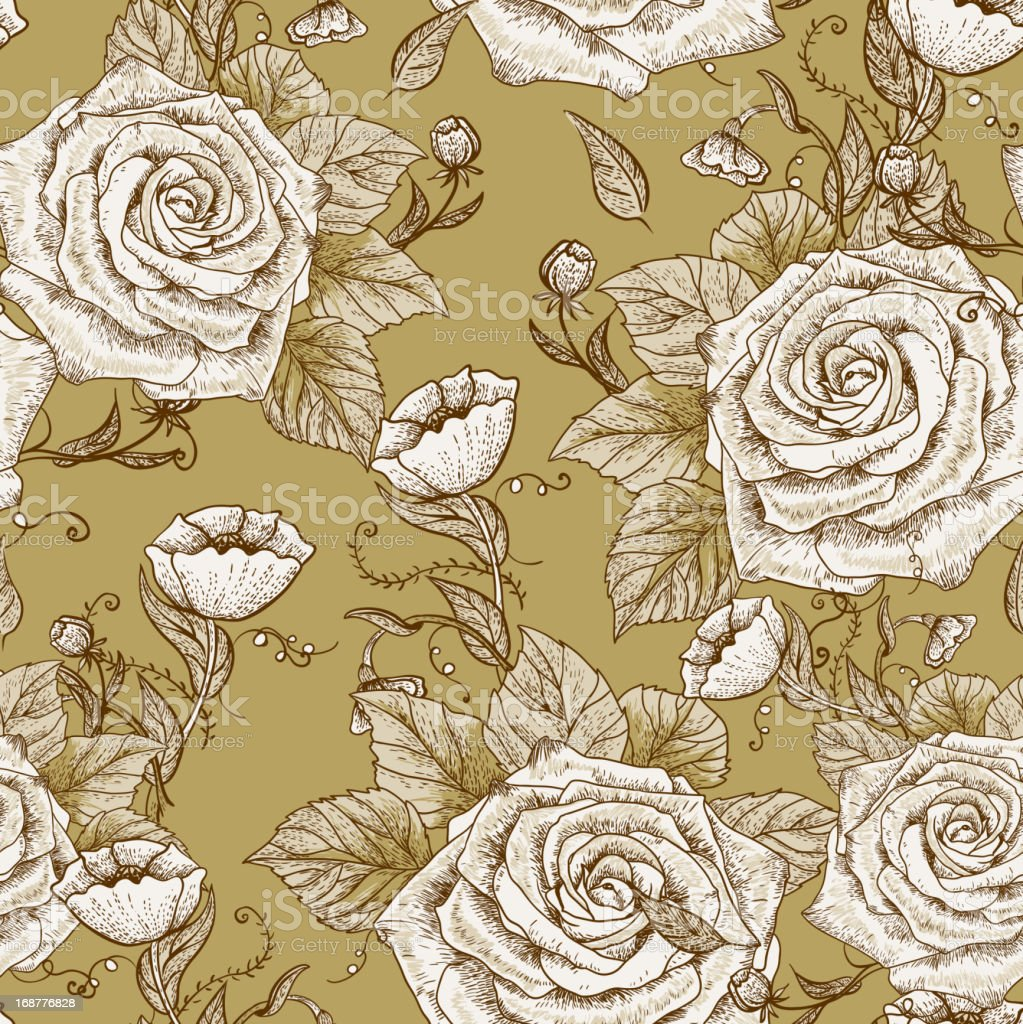Seamless vintage floral pattern with roses royalty-free stock vector art