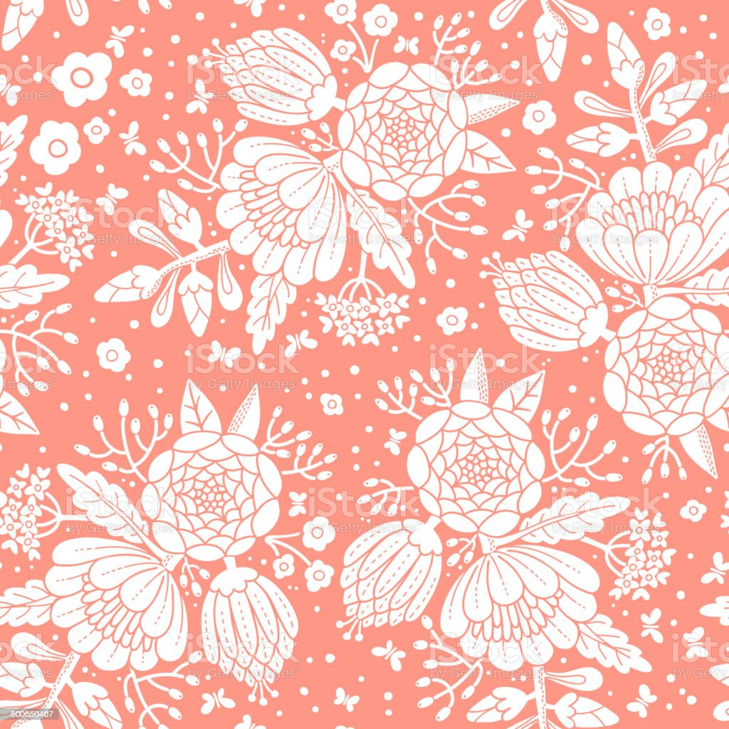 Seamless vintage pattern with decorative flowers. vector art illustration