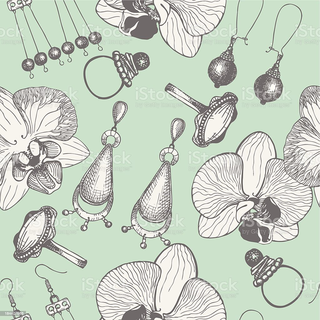 Seamless vintage pattern with graphic jewelry and orchid flowers. royalty-free stock vector art