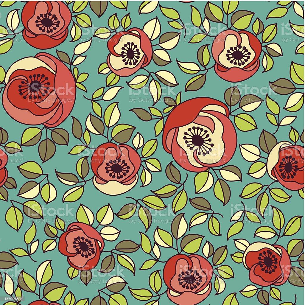 Sem costura vintage rosa padrão no plano de fundo verde vetor e ilustração royalty-free royalty-free