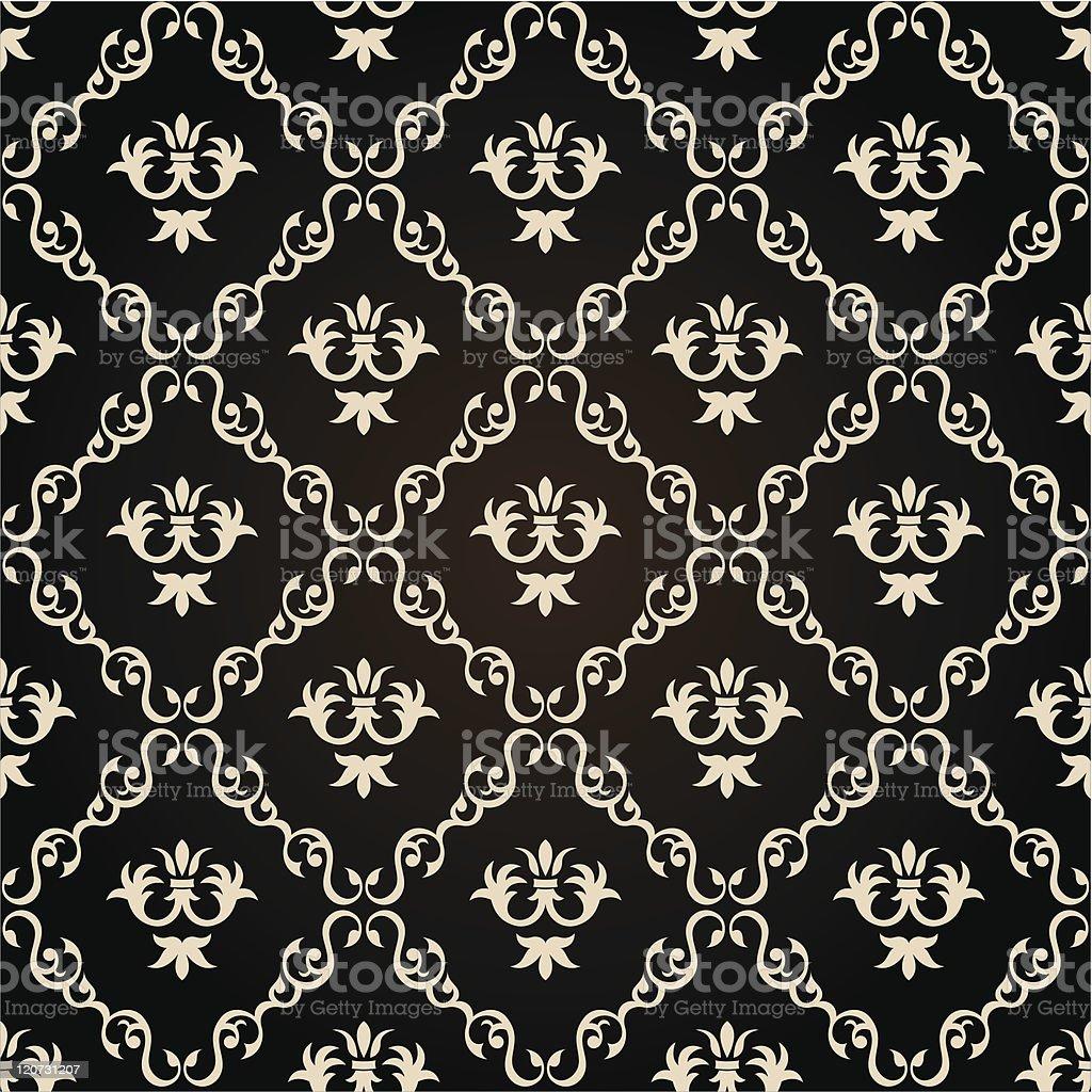Seamless vintage wallpaper background floral black Vector royalty-free stock vector art