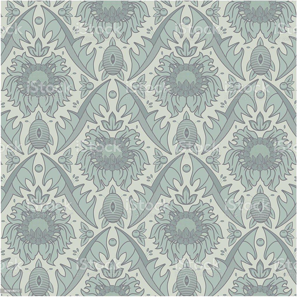 Seamless Vintage Wallpaper Pattern (vector & jpeg) vector art illustration