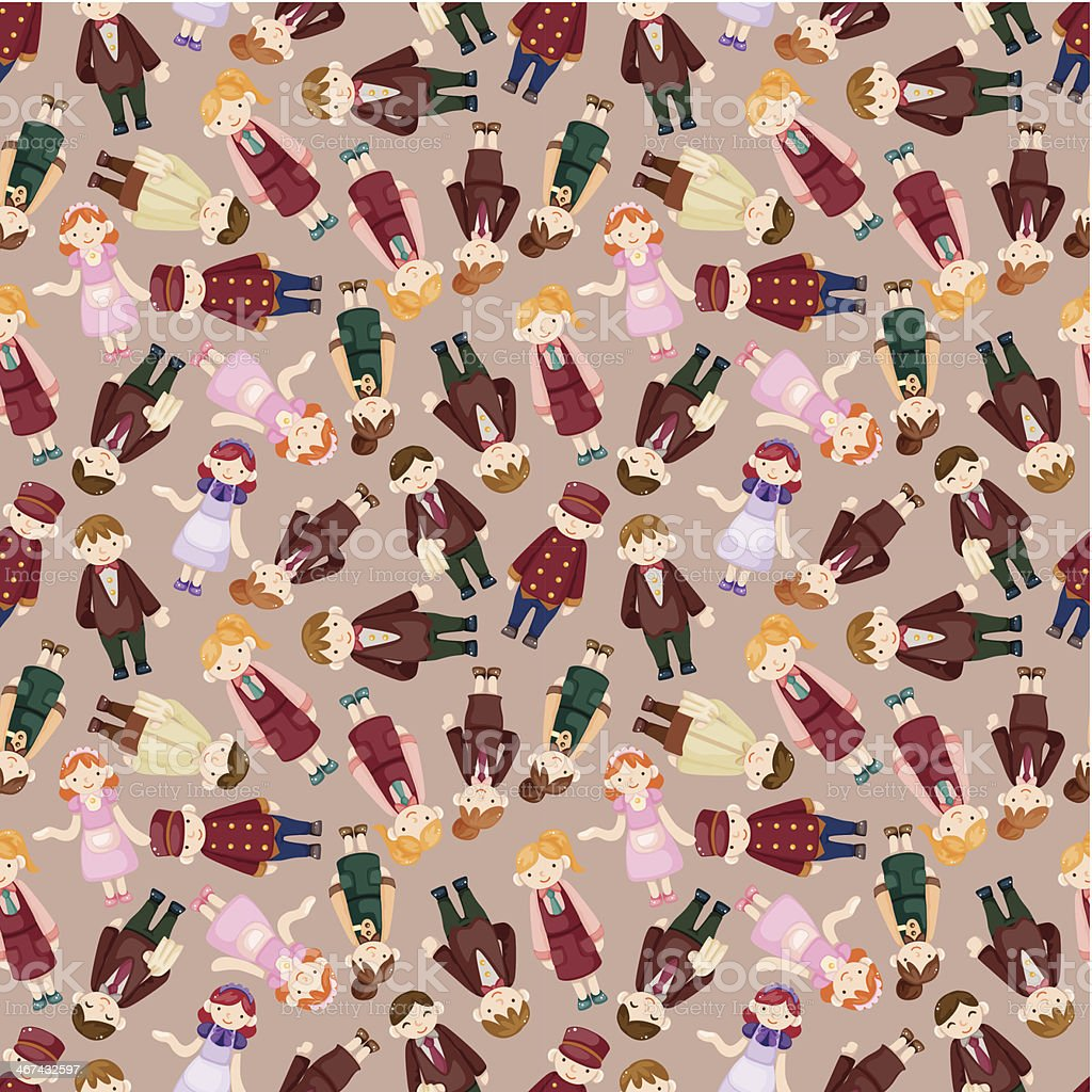 seamless waiter and waitress pattern vector art illustration